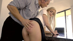 Naomi Woods doesn't study and stepdad's cock punishes her