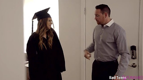 Stepdad fucks teen after she takes off academic dress