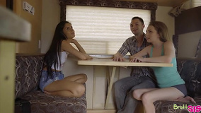 Lucky guy treats his cute stepsisters while stepdad drives