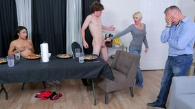 Naughty stepsis likes to suck stepbro's dick under the table