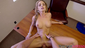 Stud can't lose chance to fuck busty teacher in her office