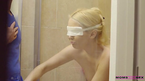 Bathroom handjob and bedroom fuck by blindfolded stepmom