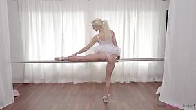 Muscular man sensually copulates with petite ballerina