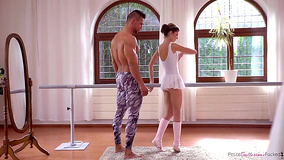 Dance partners have sensual sex during usual training