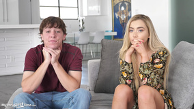 Blonde debuts in porn together with her stepbrother