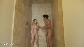 Curious boy nails unsatisfied stepsister in shower