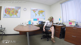 Naughty cougar has anal sex with stepson in office