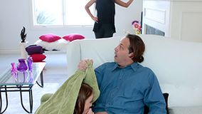 Perverted man forced to please naughty stepdaughter