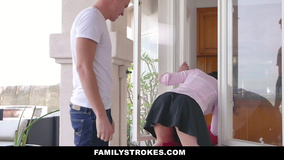 Guys team up to give stuck stepsister good dicking