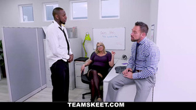 Naughty blonde pleases two co-workers with blowjobs