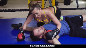 Boxing and sex with coach boost sexy woman's mood