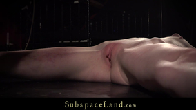 Skinny slut has her booty spanked and punished with fire