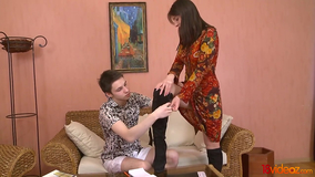 Smooth pussy brunette licked and dicked instead of studying