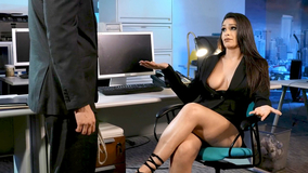 Rough office sex with two tanned and horny brunettes
