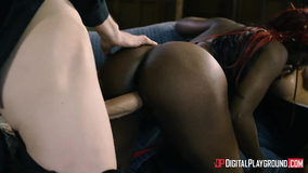 Black MILF is in firm control of an interracial 3some with anal