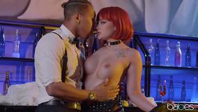 Redheaded BDSM addict enjoys a younger black dick