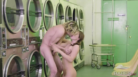 Laundry room romp with a hairy pussy teen brunette