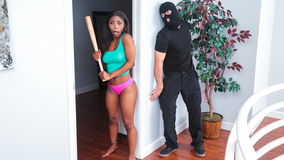 Scared black girl gets ravaged by a white burglar
