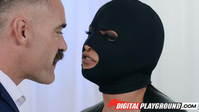 Catsuit burglar getting banged by a hung DILF