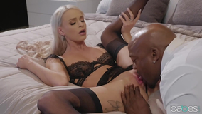 Interracial fucking session with a pristine white blonde