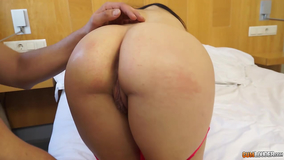 Cute brunette with the perfect ass takes it deep