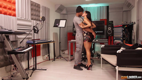 Brunette with a great body gets fucked in the studio