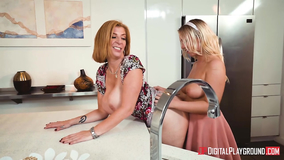MILF gets etean out by a sexy young blonde babe