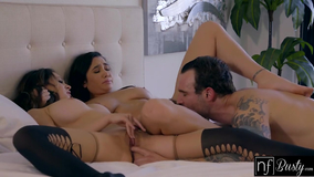 Two young brunettes love the dick of a tattooed dude