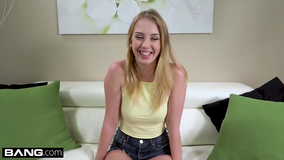 Blonde young girl uses a vibrator and has sex